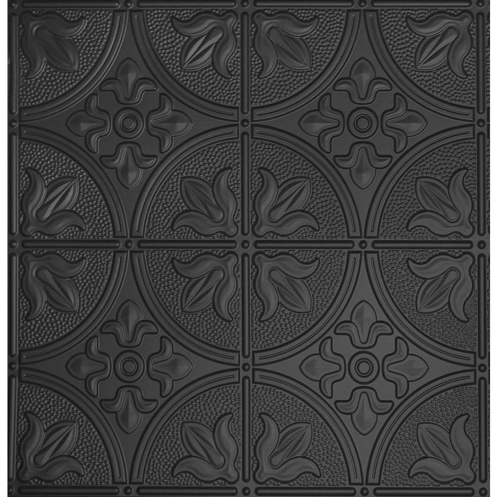 Global Specialty Products Dimensions 2 Ft X 2 Ft Lay In Ceiling Tile In Matte Black For T Grid Systems Tin Ceiling Tiles Tin Ceiling Black Ceiling Tiles