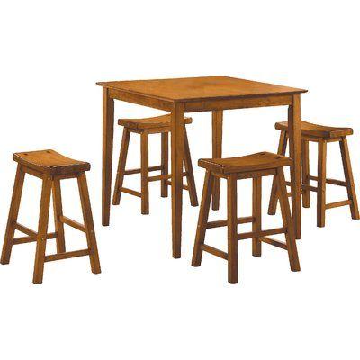 Red Barrel Studio Elizabet 5 Piece Counter Height Pub Set Color Oak In 2019 Pub Table Sets Dinette Sets Counter Height Dining Sets
