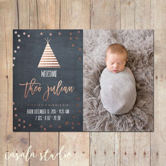 Tribal Teepee Rose Gold Birth Announcement Card by casalastudio – Birth Announcement Pinterest