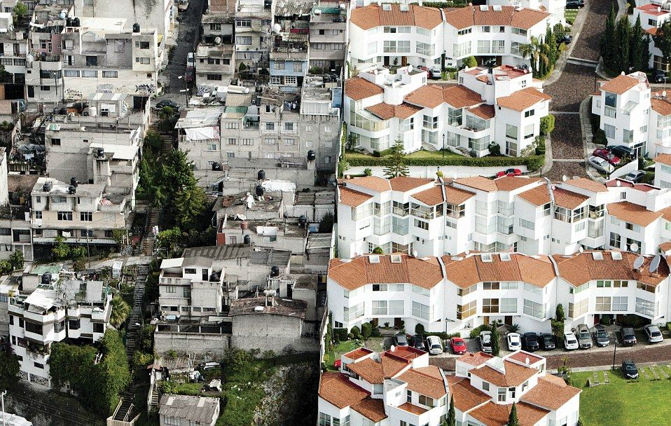 Mexico Divided Stark Photos Show Urban Wealth And Povertyside By Side Slums Mexico Aerial Photograph