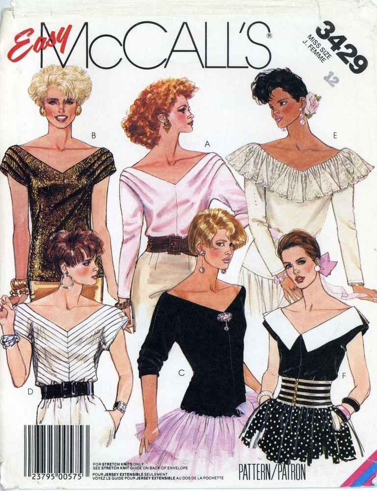 80s Sewing PATTERN McCalls 3429 misses Blouse Top knits only V neck ...