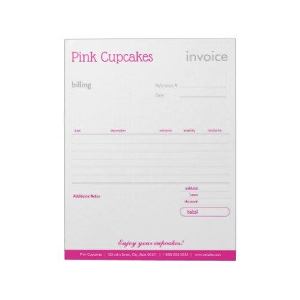 Pink Blank Order Form or Invoice Notepad Order form - blank order form