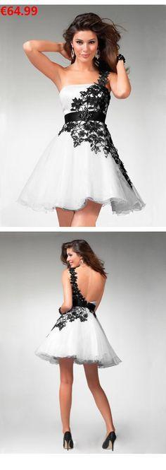 9687adb1a825 A-Linie aus Organza 1-Schulter Kurz Mini Rückenfrei Weiße Günstige  Abschlusskleider Cocktailkleider 2016 in 2018   kleider   Pinterest    Dresses, ...