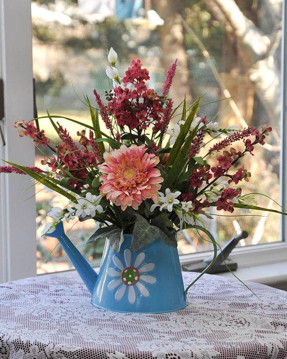 Spring Floral Arrangement/ Blue Watering can Spring