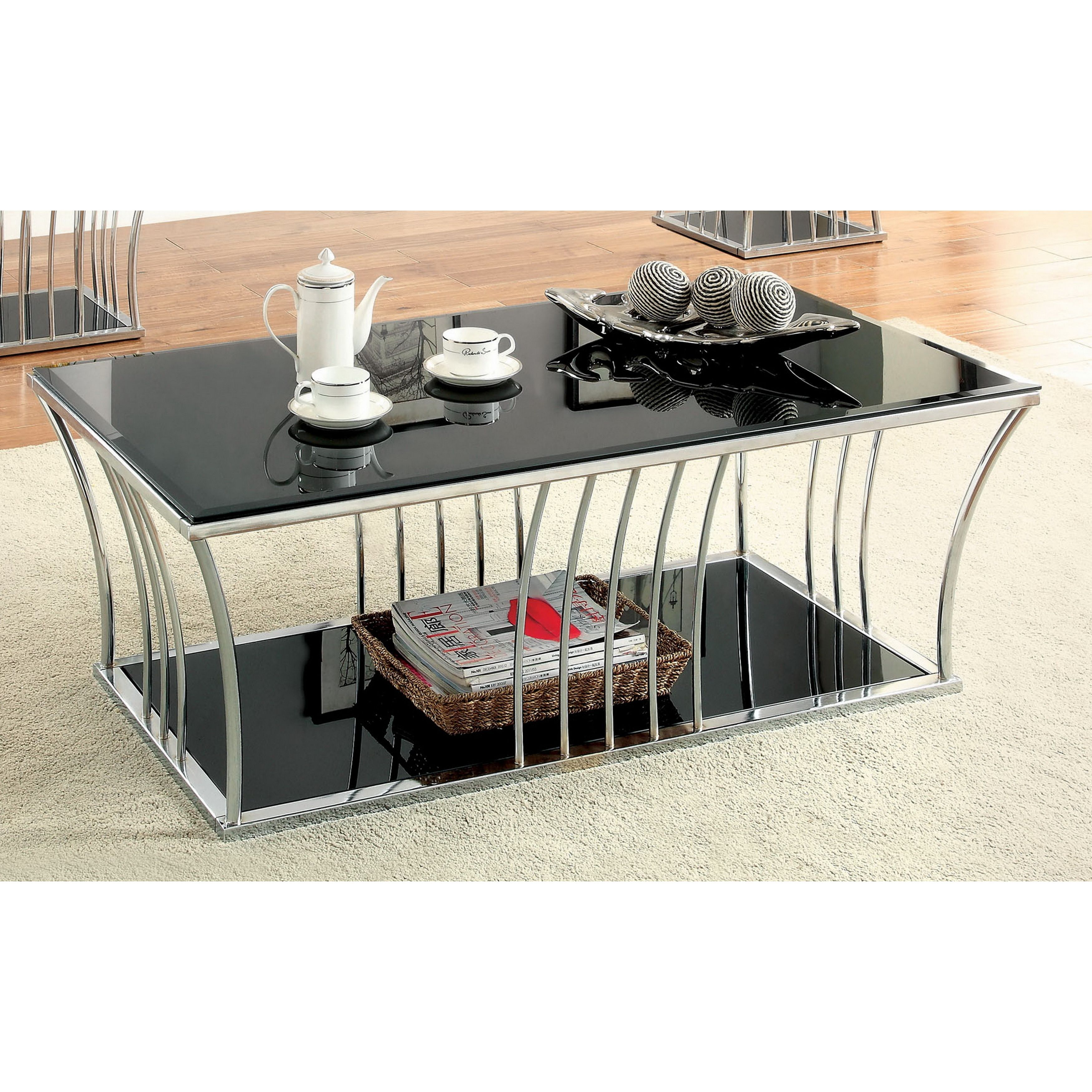 Furniture of America Confidante Curved Chrome Coffee Table Black