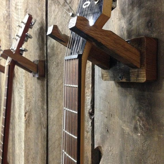 wall mounted guitar hanger by barrelworksproject on etsy guitar finds pinterest. Black Bedroom Furniture Sets. Home Design Ideas