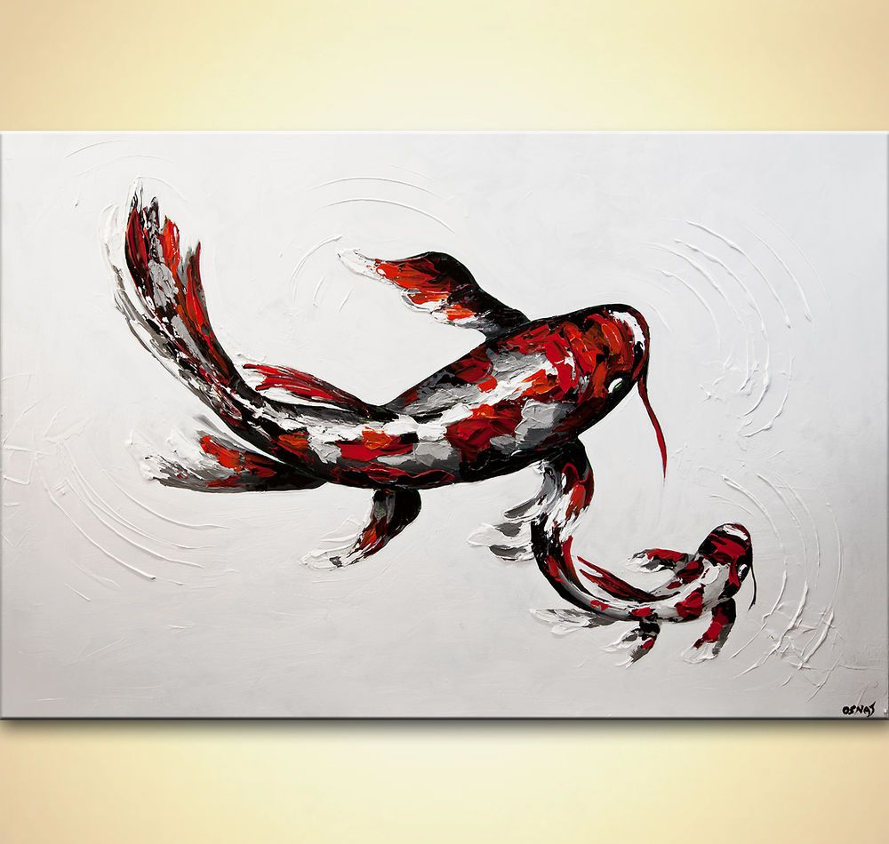Red koi fish painting 60 x 40 textured palette knife for Koi fish canvas art