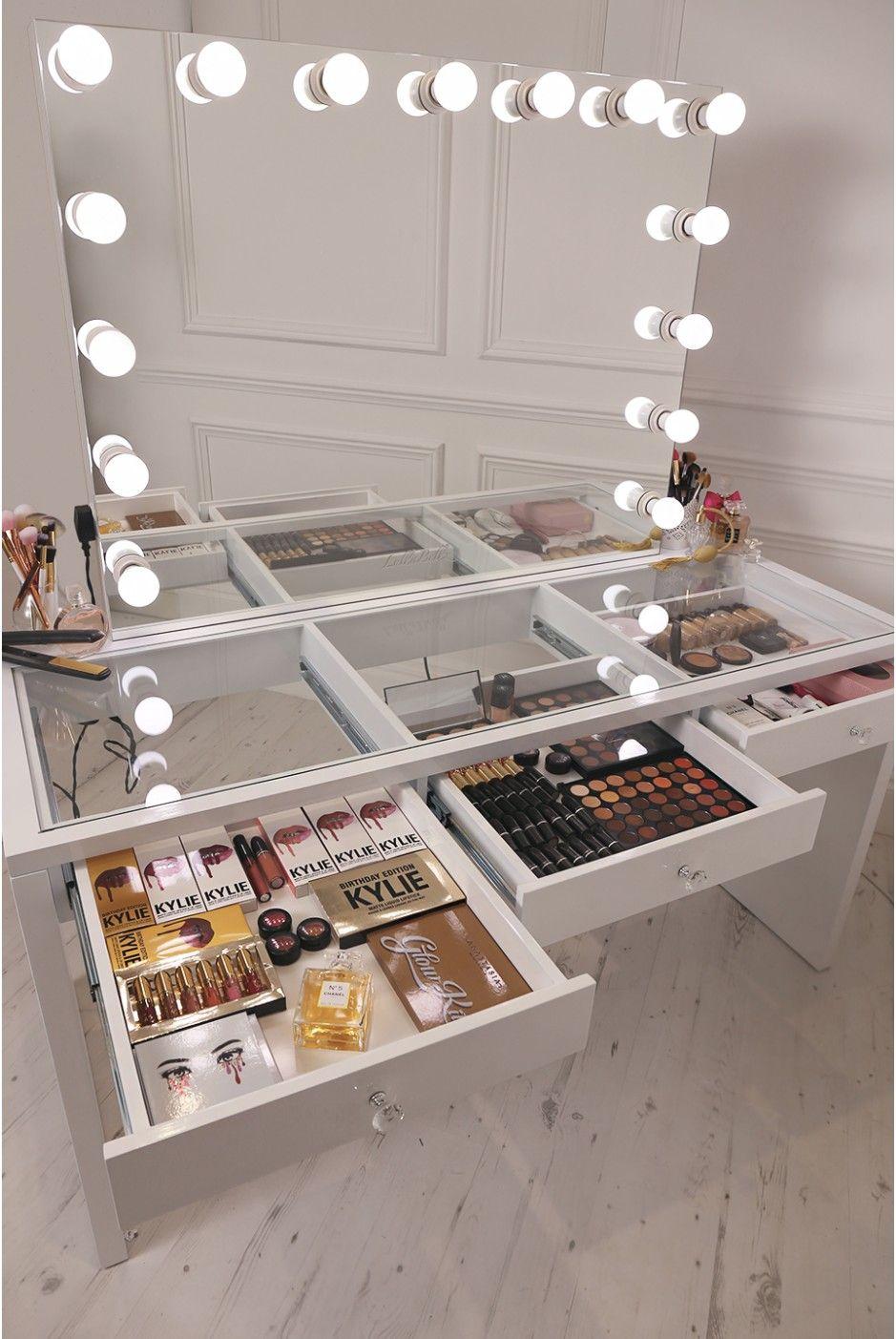 Crisp white finish slaystation make up vanity with premium storage