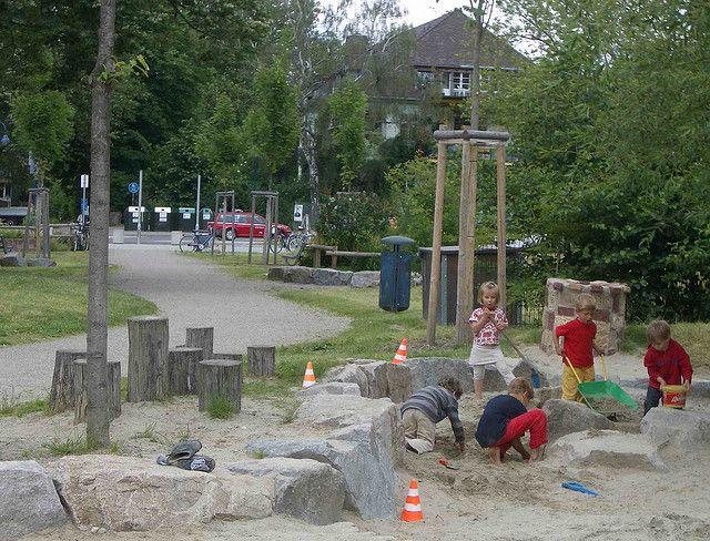 Busy sandpit, nature playground, Vauban, Freiburg by timrgill, via Flickr