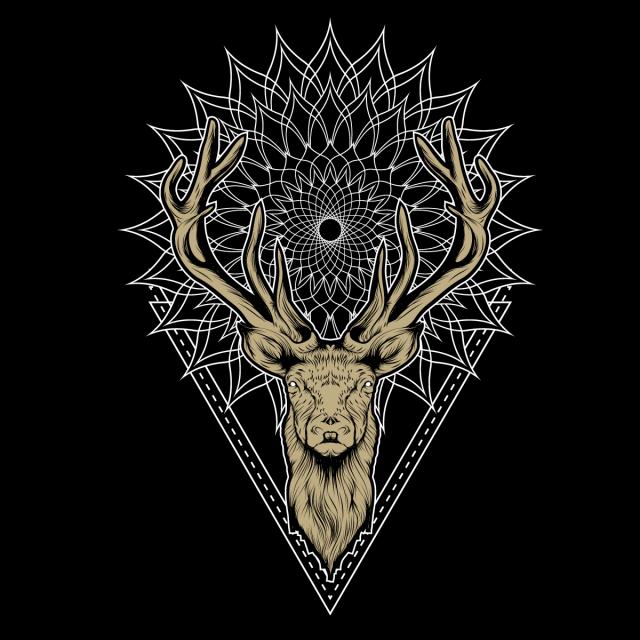 Deer And Mandala Background Illustration Vector And Png Mandala Background Deer Illustration Mandala