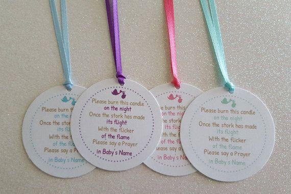 Baby Shower Yankee Candle Favors ~ Candle favor tags *baby shower poem *stork tea light favor