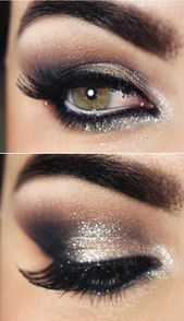 Photo of A smoky party make-up for eyes in shimmering gray in the evening smoky eyes …