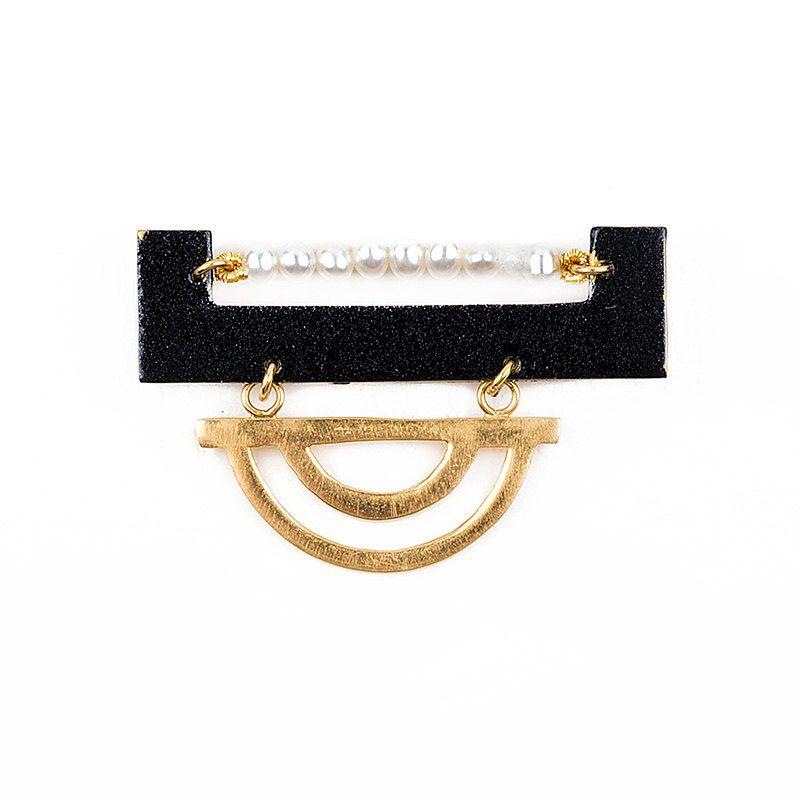 Art Deco Pearls Geometric Brooch Black And Gold Signature