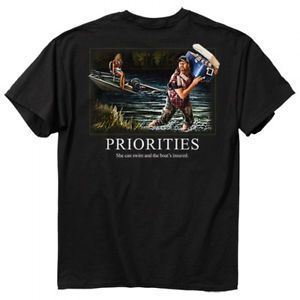 Funny Fishing Buckwear Tee T Shirt Prioririties Beer Fisherman | eBay
