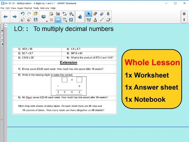 Whole Lesson - Multiplication with decimals - applying problems ...