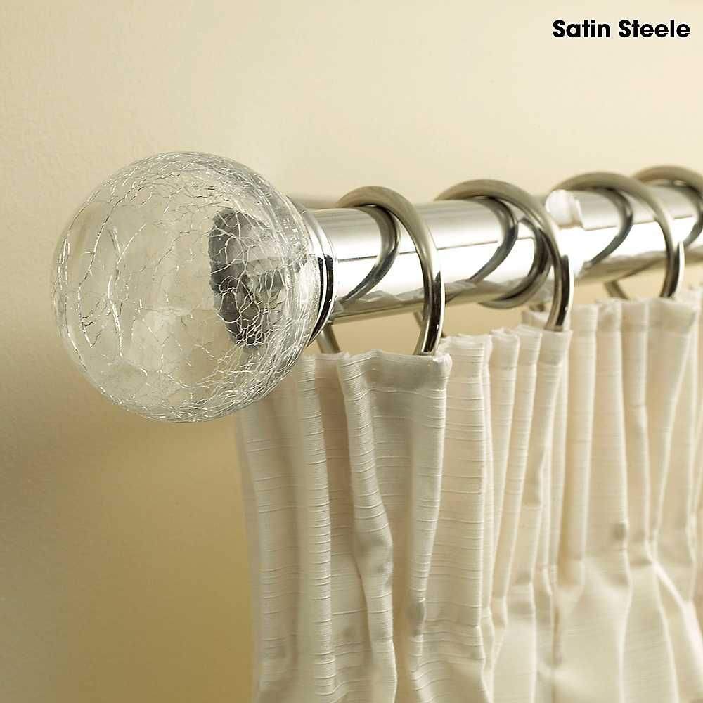 premium curtain pole with crackle glass finials - curtains
