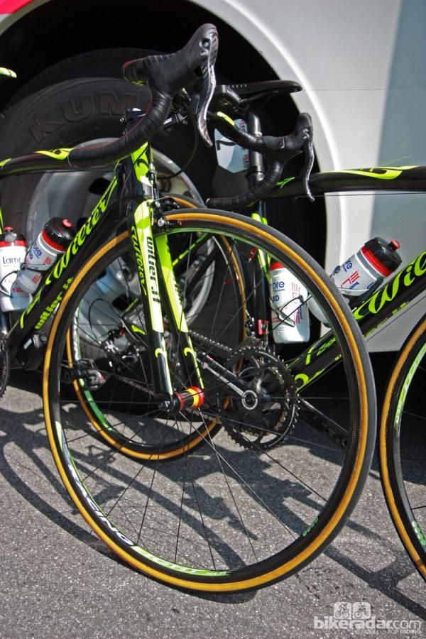 814e1c33b Michele Scarponi s (Lampre-ISD) Wilier Triestina Zero.7 was fitted with  ultralight Fulcrum Racing Speed XLR shallow-profile carbon fiber tubulars  for Stage ...