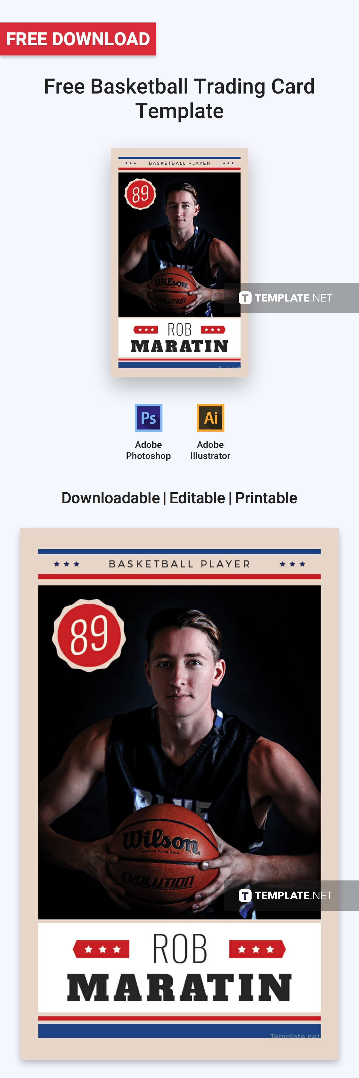 Basketball Trading Card Template Free Pdf Word Psd Apple Pages Illustrator Publisher Trading Card Template Free Basketball Baseball Card Template