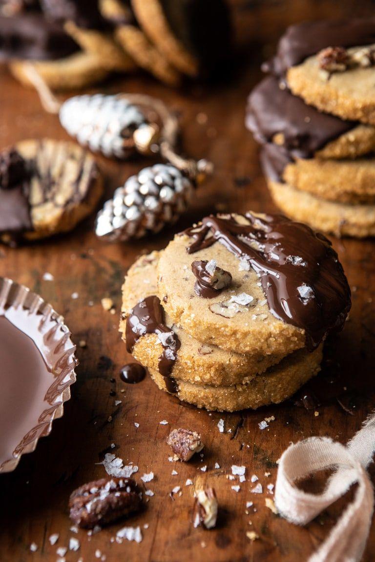 Slice n' Bake Salted Chocolate Butter Pecan Cookies. #sliceandbakecookies