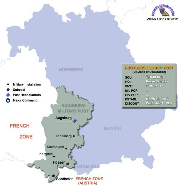 Map Of Augsburg Military Post Walter Elkins Military Post Military Installations Augsburg