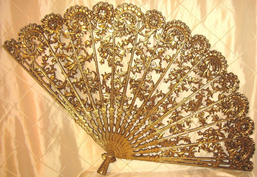 RETRO BURWOOD LARGE WALL DECOR HOME INTERIOR FAN GOLD ORNATE 4402 ...