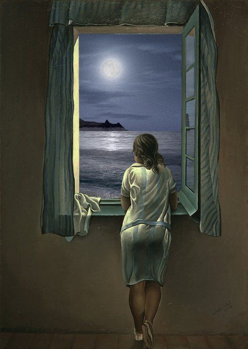Image result for paintings and artwork moon at the window