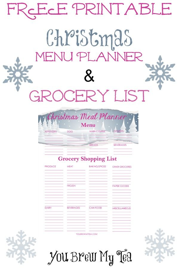 Free Printable Christmas Menu Planner & Grocery List - | Menu ...