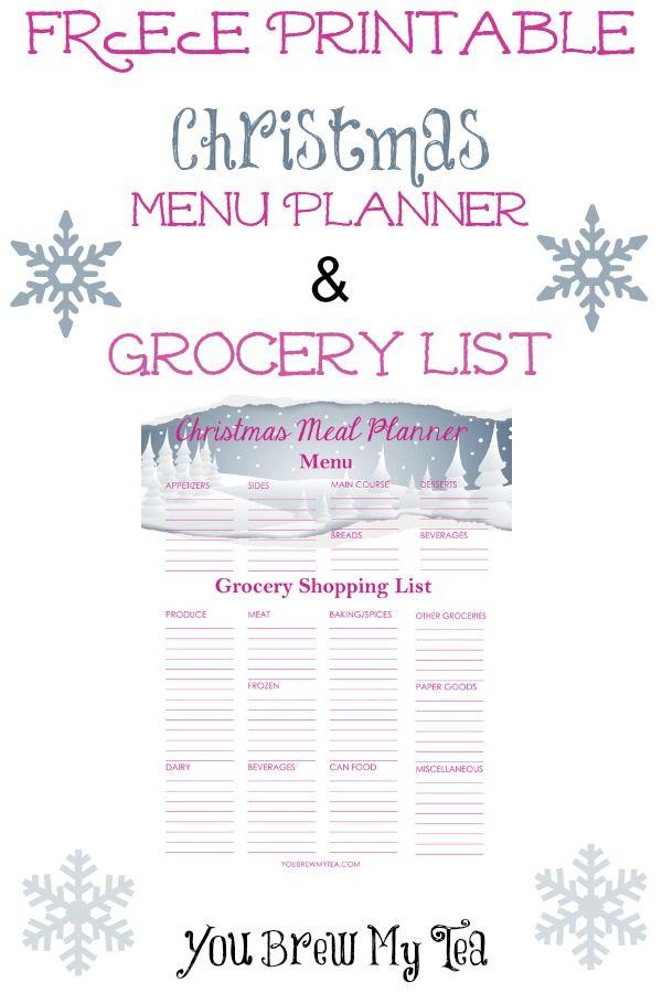Free Printable Christmas Menu Planner Grocery List