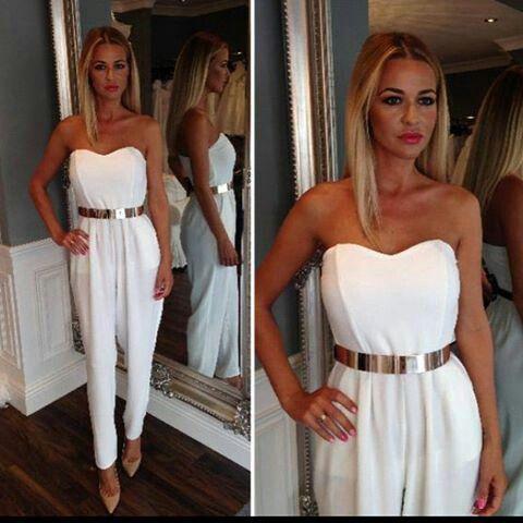 ea18ceba136 Cari s Closet white jumpsuit with gold plate belt.