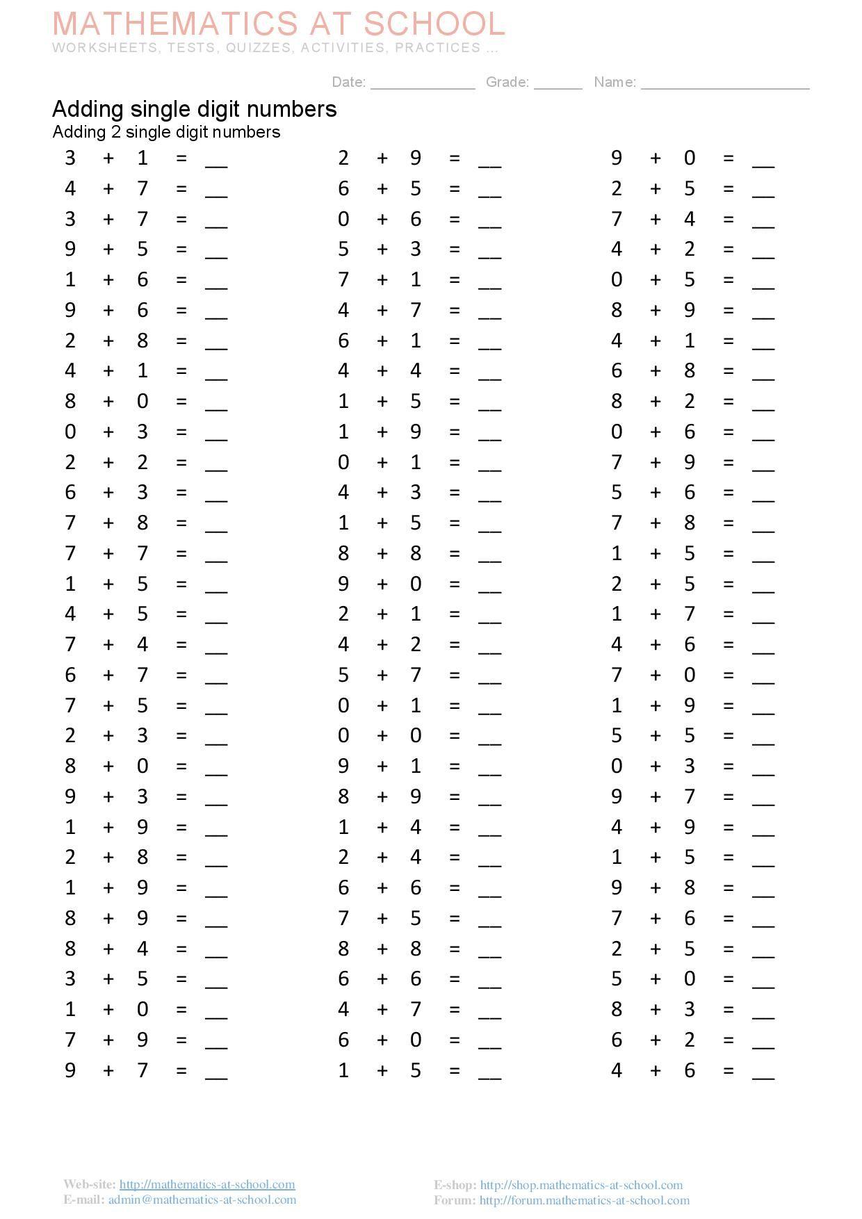 Adding single digit numbers Adding 2, 3, 4 single digit