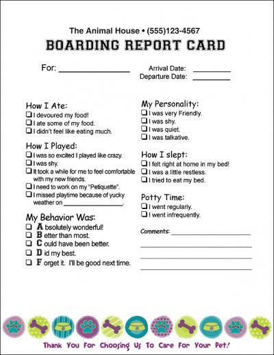 Report2circlepaper 8 1 2 X 11 Report Card Mbs Communications Veterinary And Pet Care Dog Boarding Facility Dog Daycare Business Dog Daycare