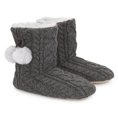 Cable Pom Pom Slipper Boots from The White Company ...