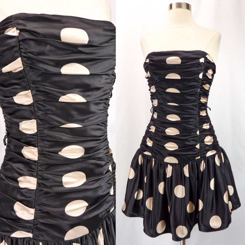 Betsey Johnson Black & Pink Polka Dots Ruched Satin Strapless Party Mini…