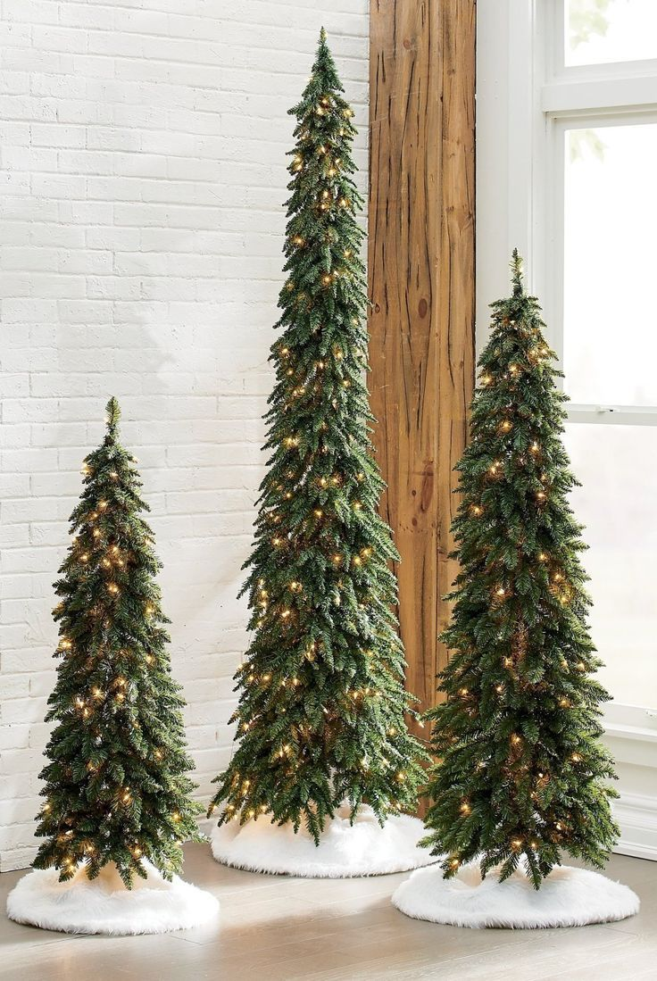 Down-swept Slim Pine Trees | Grandin Road -   19 christmas tree 2020 simple ideas