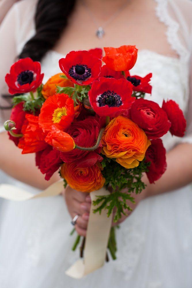Цветов, свадебный букет красные маки