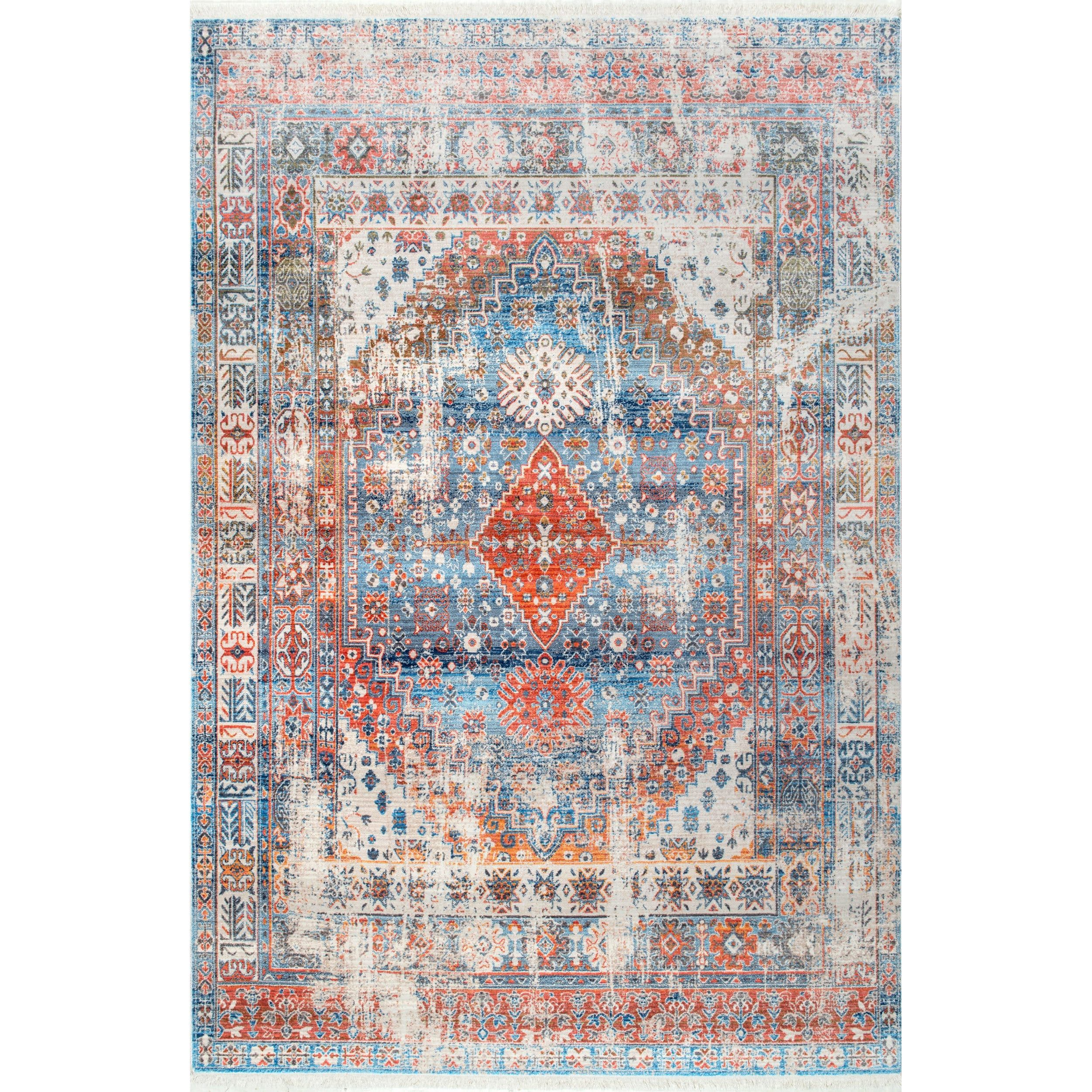 Nuloom Vintage Faded Olden Tribal Medallion Area Rug Area Rugs Orange Rugs Blue Area Rugs