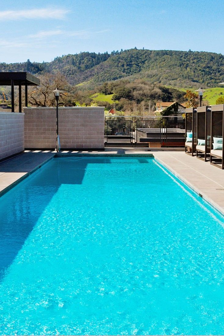 Located in downtown Yountville, Bardessono's pool deck offers views of the Mayacama Mountains. #Jetsetter