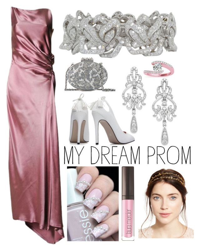 """""""If i could redo prom"""" by willy3384 on Polyvore featuring Gucci, Wrapped In Love, Allurez, Christian Louboutin, Laura Mercier, Jennifer Behr, Pink, crystals, MaterialGirl and promdoover"""