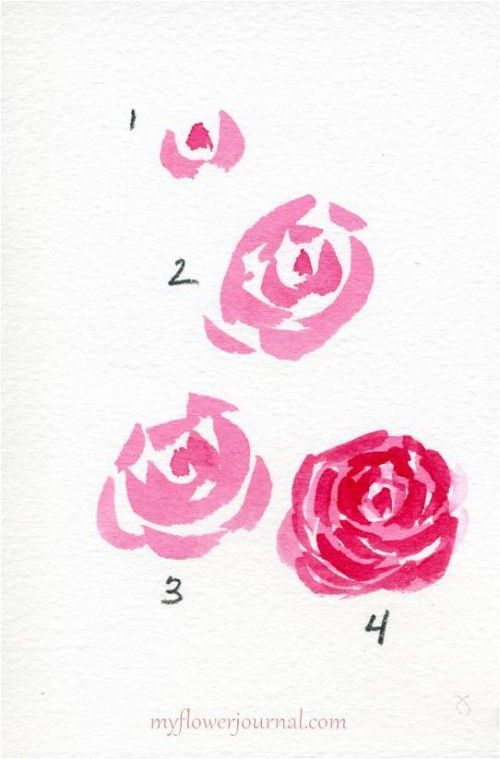 Watercolor hearts and roses simple watercolor for How to paint a rose in watercolor step by step