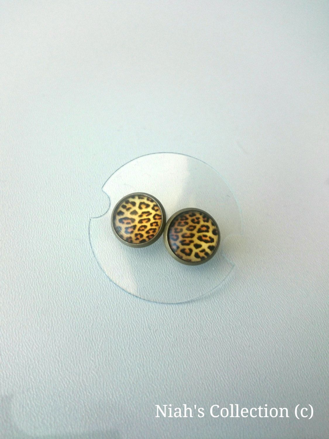 Small Leopard Print Stud Earrings Antique Bronze Resin Domed Glass Niahscollection Animal Print by NiahsCollection on Etsy