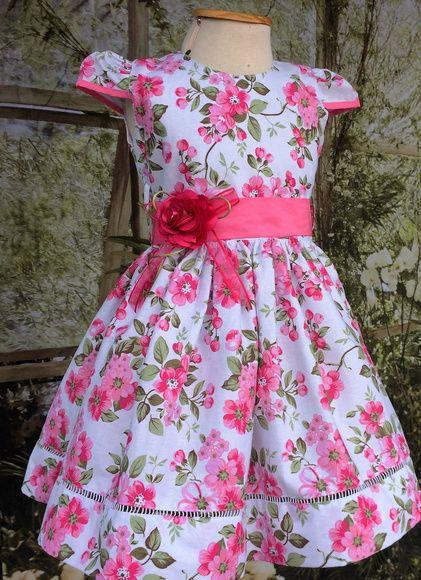 8b9f4fa3eee7d0 Vestido Infantil Floral Branco e Pink 3 | Dresses for girls ...