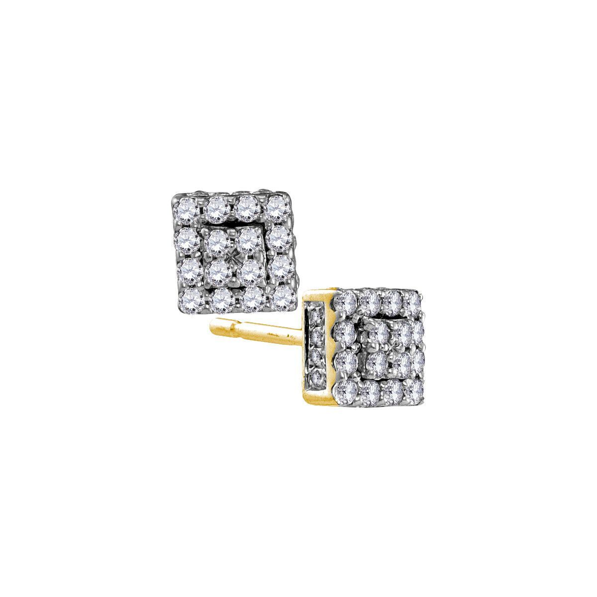 10kt Yellow Gold Womens Round Diamond Square Cluster Earrings 1/3 Cttw 105927