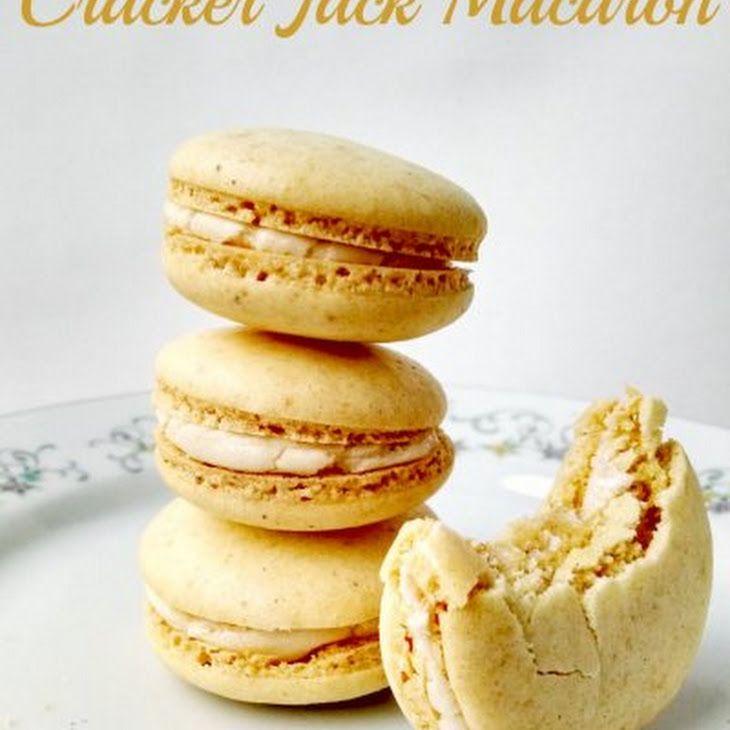 Cracker Jack Macaron Recipe with powdered sugar, almond meal, peanuts, egg whites, cream of tartar, vanilla extract, butter, powdered sugar, caramel ice cream topping, salt