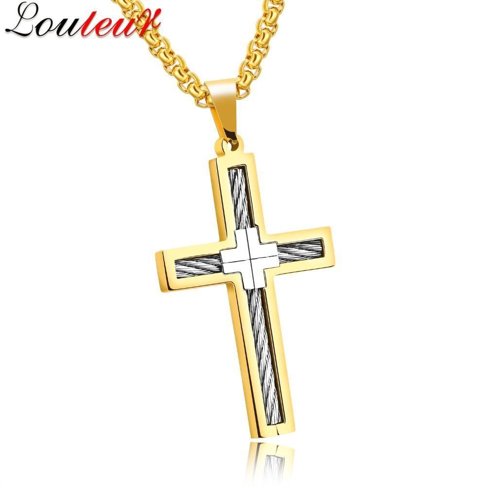 Titanium steel cross necklace men jewelry gold silver color mens titanium steel cross necklace men jewelry gold silver color mens cross jesus necklaces pendants aloadofball Images