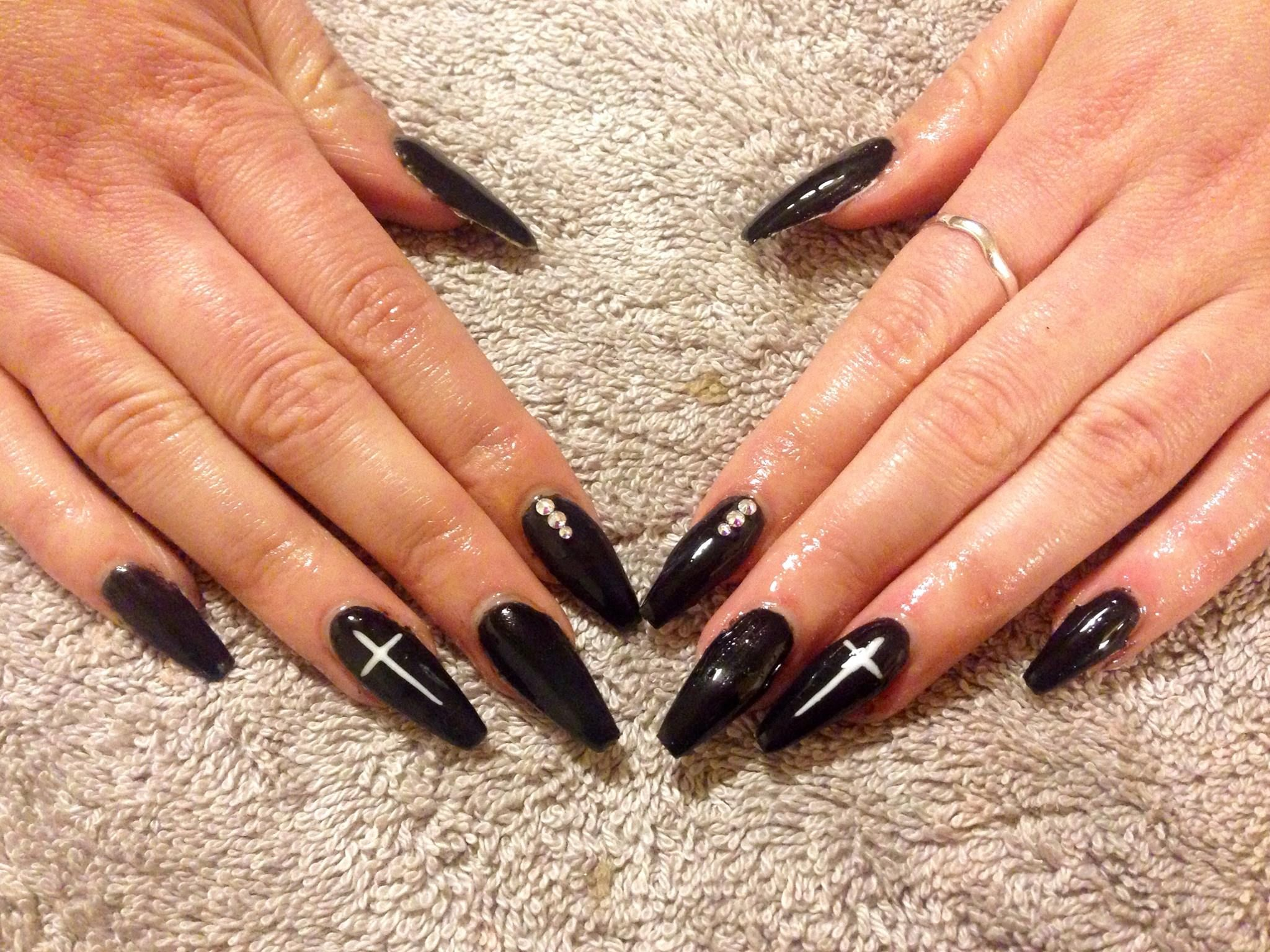 My first set of Gel nails! Black coffin shape with white cross and ...