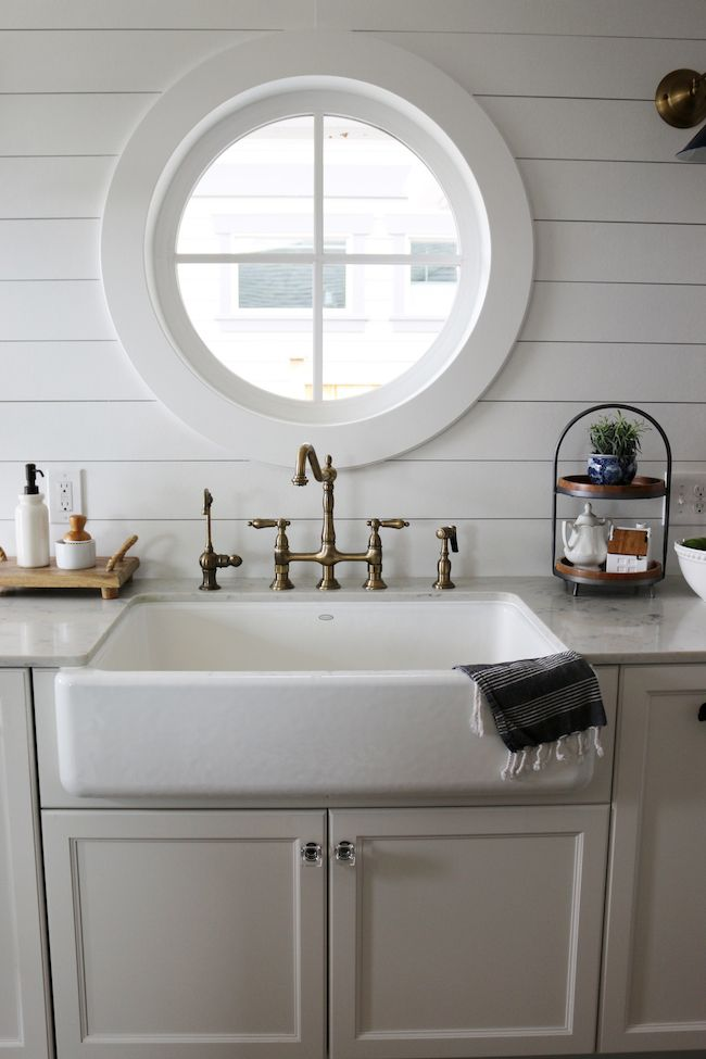 The Inspired Room Small Kitchen Reveal Farmhouse Sink With Round Window.  Whitehaven Self Trimming X X Undermount Single Bowl Kitchen Sink With Tall  Apron By ...