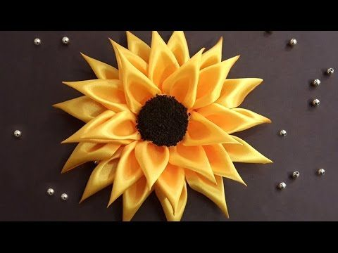 DIY for Girls : How to Make Kanzashi Satin Ribbon Sunflower #ribbonflower