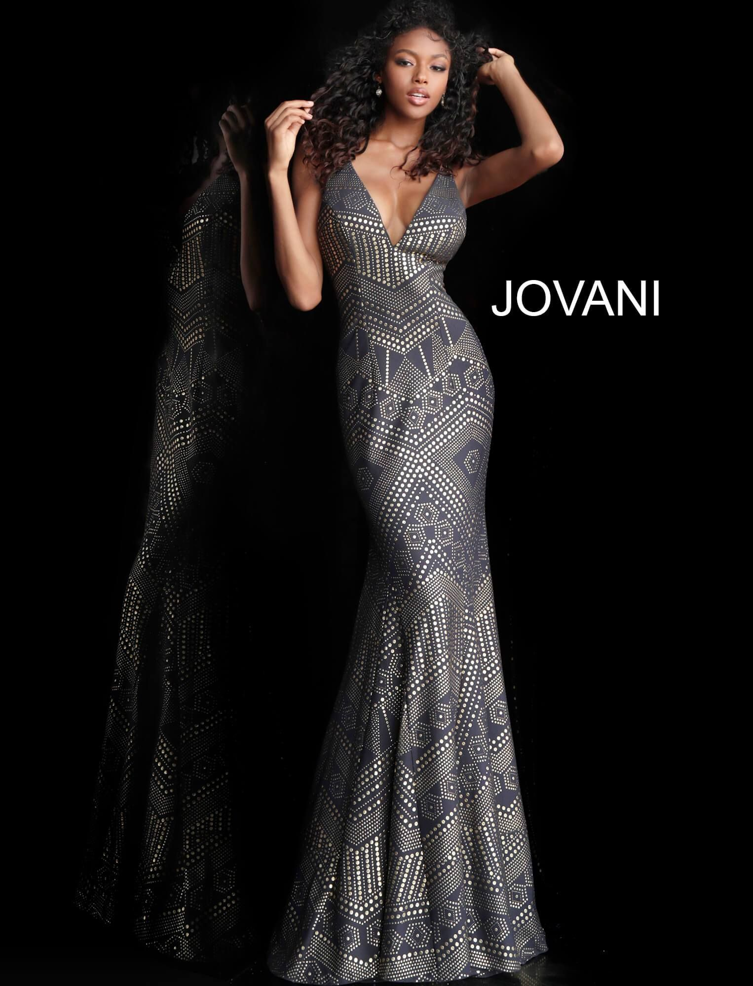 Grey Gold Plunging Neck High Slit Prom Gown 59632  399efd8f6