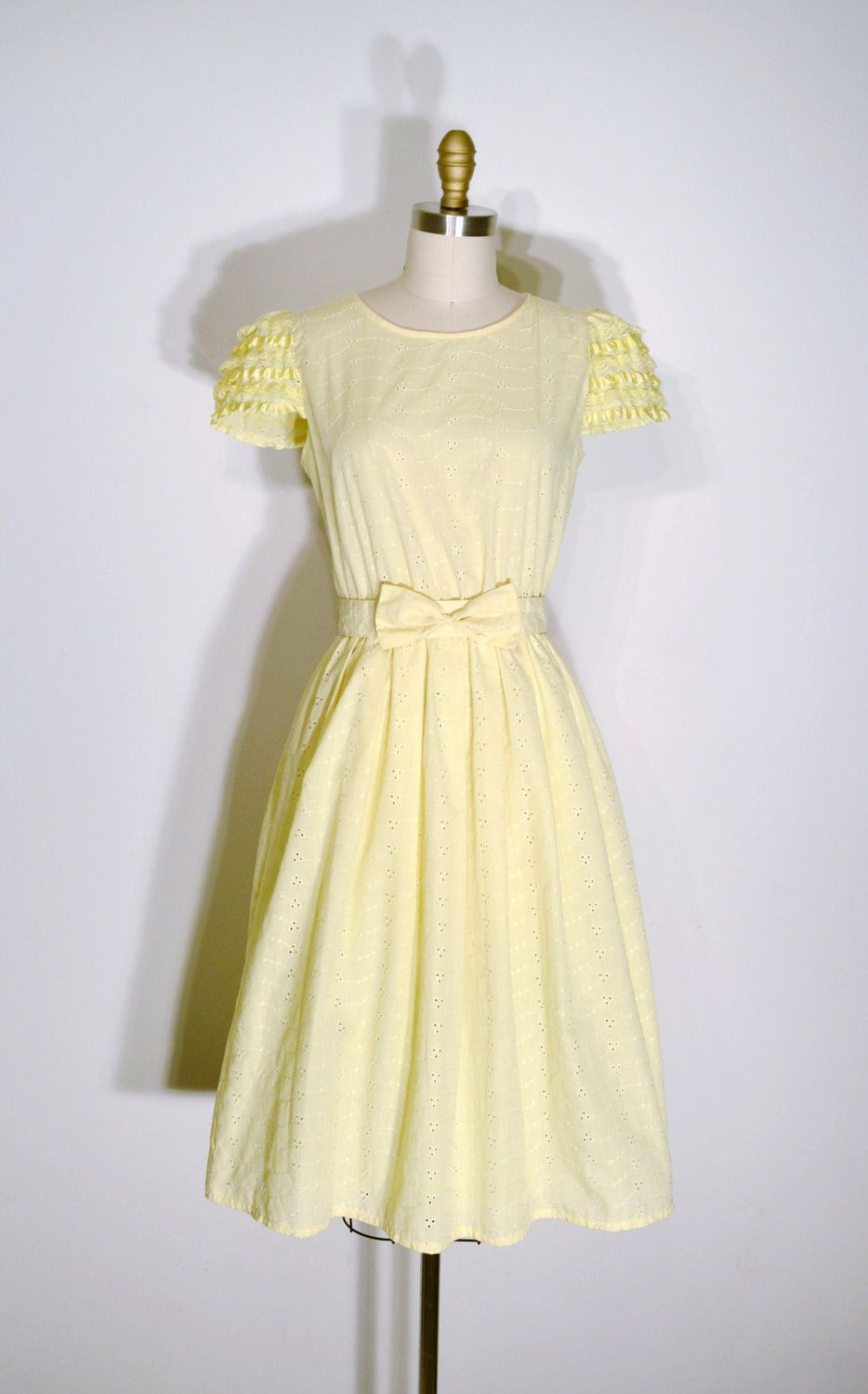 1e69917f4f6 Vintage 1960s Dress - 60s Party Dress - Yellow Lace Floral Eyelet ...