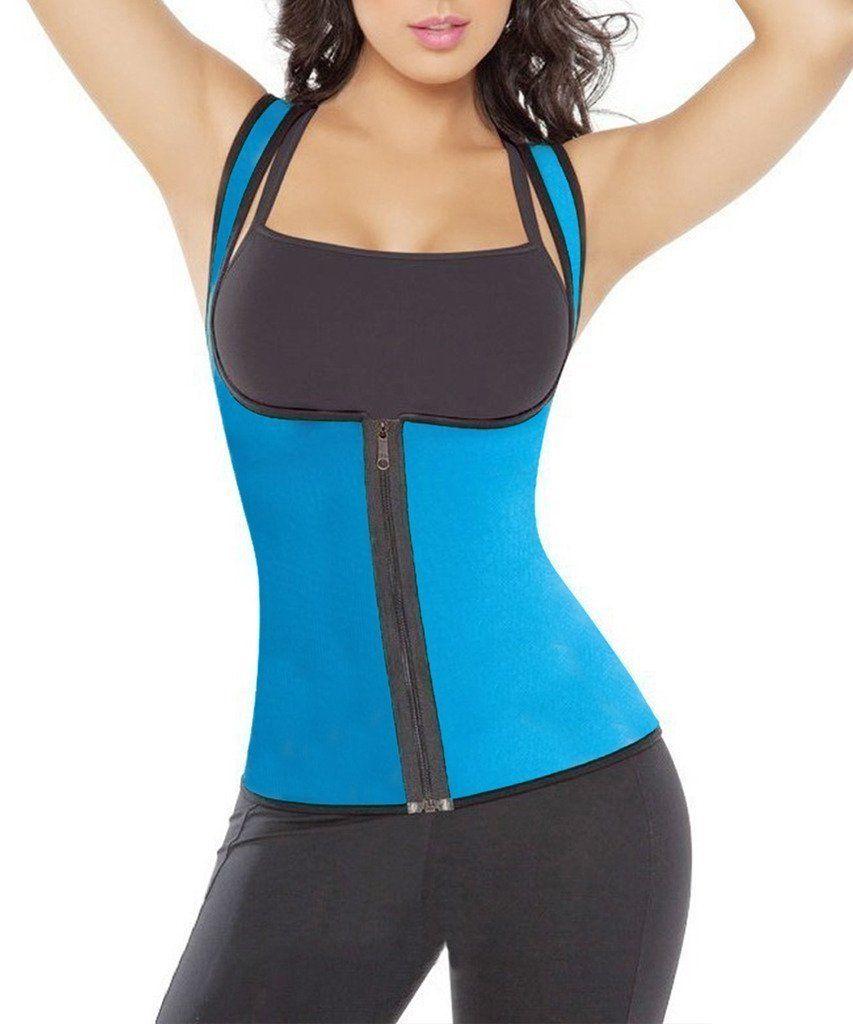291e7b37bc Women Hot Sweat Neoprene Weight Loss Tank Top Shirt Waist Trainer Vest  Zipper Corset Body Shaper Cincher Training Workout